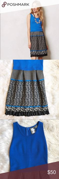 "Anthro Girls from Savory Tiered Arden Dress Excellent condition Girls from Savoy for Anthropologie ""Tiered Arden"" sweater Dress. Blue stretchy bodice with mixed pattern skirt. Some light wear to bottom skirt, shown in photos, overall in great condition. Size small. Length - 38"", bust - 16"", waist - 14"". Anthropologie Dresses"