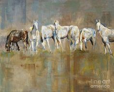 Horse Painting - The Horizon Line by Frances Marino
