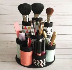 DIY Makeup Organizer. Made from recycled paper towel tubes. Perfect for makeup brushes and lipstick. Video How To.