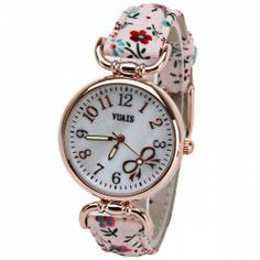 $8.87 VUAIS Quartz Watch with Numbers Indicate Cloth Leather Watch Band for Women - Pink