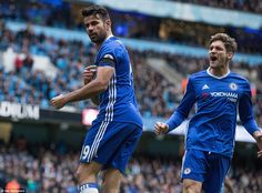 Costa is joined in his celebrations by Marcos Alonso after dragging his side level at the Etihad on Saturday afternoon