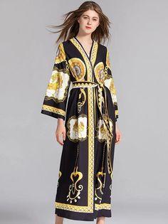 Flare Sleeve V-Neck Lacing Print Wrap Dress