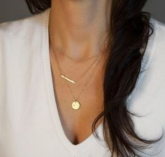 Narrow Bar Necklace // Hammered Silver or Gold by LayeredAndLong