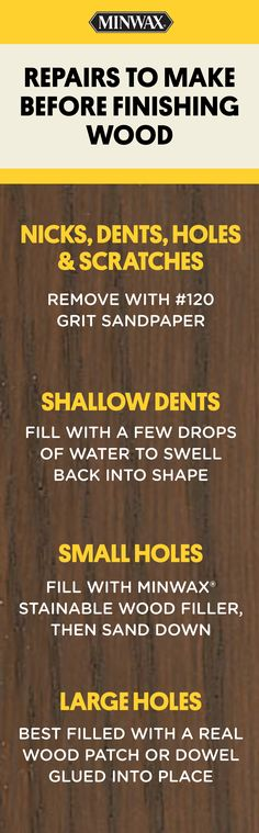 When you're getting ready to finish a piece of wood, you'll first need to prepare the wood's surface. Keep these tips in mind for making different types of repairs. Click to learn about Minwax® products for repairing and restoring wood.