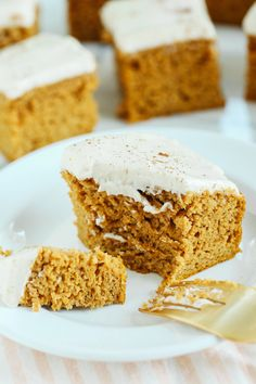 Kick off the fall season with these Healthier Pumpkin Bars with Cream Cheese Frosting that are moist, delicious and taste just like cake, but without any butter or refined sugar!