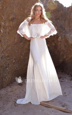 Jersey Embroideries Ruffled Lace Off-The-Shoulder Dress