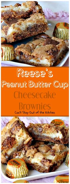 Reese's Peanut Butter Cup Cheesecake Brownies - Can't Stay Out of the Kitchen These amazing brownies are made with a cookie dough layer that's filled with Reese's Peanut Butter Cups. A cheesecake layer makes these heavenly brownies irresistible. Peanut Butter Cups, Peanut Butter Cup Cheesecake, Peanut Butter Recipes, Cheesecake Aux Snickers, Cheesecake Brownies, Cheesecake Cupcakes, Fudge Brownies, Chocolate Cheesecake, Dessert Bars