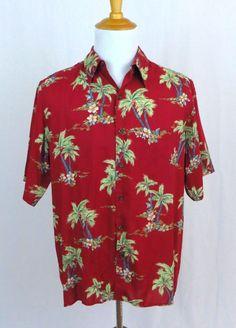 Reyn Spooner Hawaiian Shirt Medium Floral Palm Tree Water Lily Frond Aloha Camp #ReynSpooner #Hawaiian