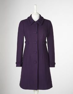 Boden's Rosette Coat in a deep eggplant color.