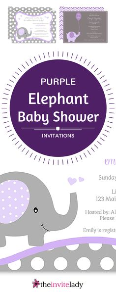 42 best baby shower elephant invitations images on pinterest boy purple and grey baby shower elephant invitations for gender neutral showers from theinvitelady filmwisefo