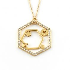 Hexagon Bee Long Pendant