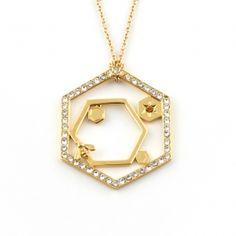 Hexagon Bee Long Pendant