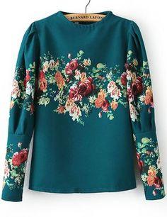 Green Stand Collar Long Sleeve Floral Blouse - Sheinside.com