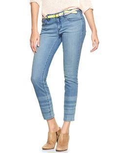 { stripe hem skinny jeans }