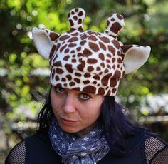 Giraffe Fleece Hat by HouseofHonore on Etsy, $25.00