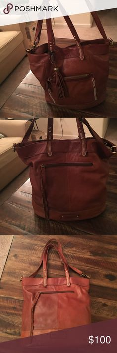 "Lucky Brand Karma Leather Brandy Brown Bag Lucky Brand Karma Leather Brandy Brown w/Crossbody strap. Great used condition. Has that beautiful worn in feel. Leather and inside is in great condition. One spot on the leather down my the bottom. Width 16""x14"" Tall. Bottom width of bag is 7"". Lucky Brand Bags"
