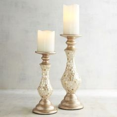 "Capiz Pillar Candle Holders | Pier 1 Imports  ($39.95-$49.95)  Small: 4.75""Dia x 11.12""H  Large: 5""D x 14.12""H"