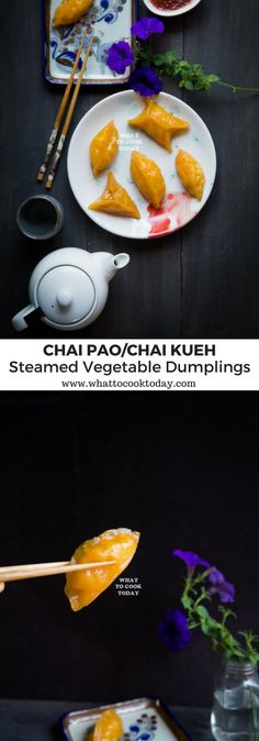 Chai Pao/Chai Kueh Ubi Medan (Steamed Vegetable Dumplings). This popular snacks in Southeast Asia are made shredded jicama and carrots enclosed in homemade soft, chewy sweet potato wrap steamed to perfection
