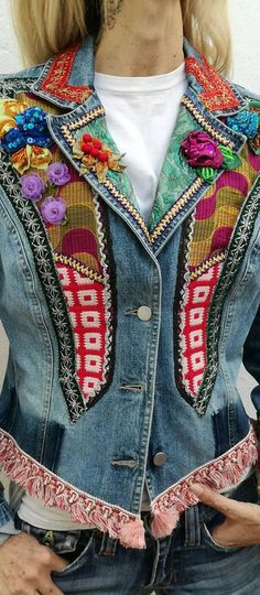 Demin boho chic jacket. Patchwork vintage fabrics and ribbons. OOAK and handmade upcycle denim jacket. Embellished with 3D fabrics flowers, beads, sequins. Short blazer style. Little details are caused by the handmade processing. Size M Dry wash. Send the whole world from Spain If your