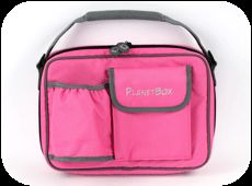 Sprite's pink Planet Box lunch bag.