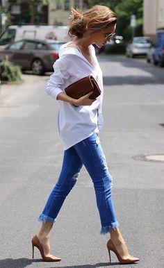 Street style look com camisa e jeans.