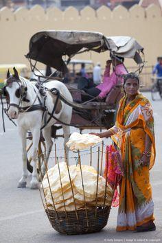 Image detail for -Poppadom Seller in Jaipur, Rajasthan, India, sundial