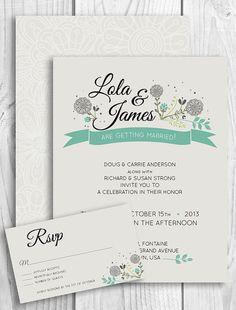 Printable Wedding Invitation - Floral ribbon banner