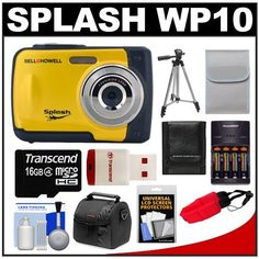 Bell & Howell Splash WP10 Shock & Waterproof Digital Camera (Yellow) with 16GB Card/Reader + Case + Batteries/Charger + Tripod + Accessory Kit by Bell + Howell. $97.95. Kit includes:♦ 1) Bell & Howell Splash WP10 Shock & Waterproof Digital Camera (Yellow)♦ 2) Power2000 XP350-(4) AAA NiMH Rechargeable Batteries & 110/220V Rapid Charger♦ 3) Transcend 16GB microSDHC Class 4 Card with Card Reader♦ 4) Precision Design PD-C10 Camera/Camcorder Case♦ 5) Zeikos 50...