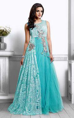 Anarkali Salwar Kameez Suits Sky Blue Pure Net and Santoon Evening Gown Indian Salwar Kameez Party Wear Designer Salwar Kameez Suits