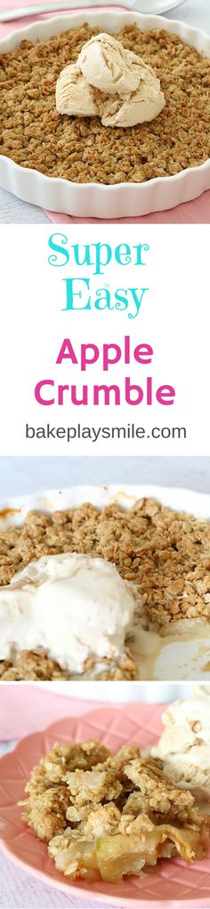 This is by far the best Apple Crumble recipe - the crumble is so crunchy and delicious! This is by far the best Apple Crumble recipe - the crumble is so crunchy and delicious! Best Apple Crumble Recipe, Easy Apple Crumble, Easy Desserts, Delicious Desserts, Dessert Recipes, Yummy Food, Drink Recipes, Cake Recipes, Apple Recipes