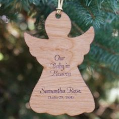 Personalized Baby In Heaven Engraved Memorial Wood Christmas Ornament