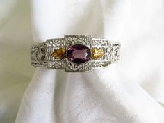 Antique Art Deco Bracelet Amethyst by VintageVogueTreasure on Etsy #vogueteam #artdecobracelet #cybermondaysale