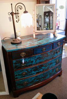 Painted dresser distressed blue