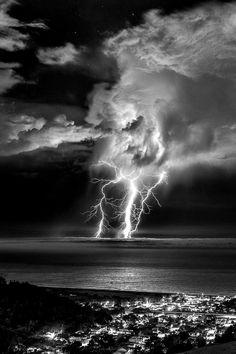 Lightning, large body of water