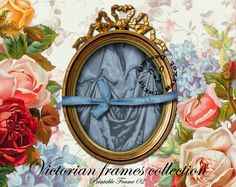 OVAL FRAME VICTORIAN w Blue Drape Photo Mat  by pixelmarket, €3.90