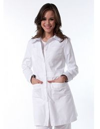 The koi Women's Rebecca Lab Coat features a tailored fit, minimized buttons, smaller placket, pointed shirt collar, four patch pockets and facing on the back of the neck and interi. Lab Coats For Men, Coats For Women, Koi Scrubs, Mantel, Lady, Outfits, Shopping, Clothes, Tops