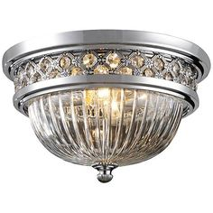 """Crystallure 13"""" Wide Polished Chrome Ceiling Light - #3N179 