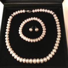 Honora Pearl Necklace Set Beautiful and sophisticated white freshwater pearl necklace, bracelet and stud earring set.  Necklace measures 18 inches and only worn once.  In perfect condition! Honora Jewelry Necklaces