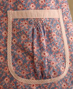 A Floral Pocket with a Little Smocking & Contrasting Fabric Trim ....
