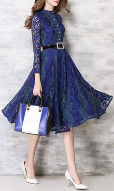 Stand Collar Lace Midi Dress with Belt