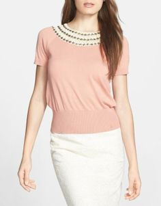 Love the detail on this embellished cotton sweater | Tory Burch