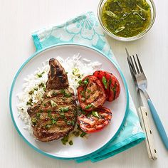 Grilled Pork Chops with Plum Tomatoes and Parsley Vinaigrette Recipe - Woman's Day
