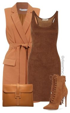 """""""Burnt"""" by efiaeemnxo ❤ liked on Polyvore featuring Halston Heritage, Alexandre Birman and Hermès"""