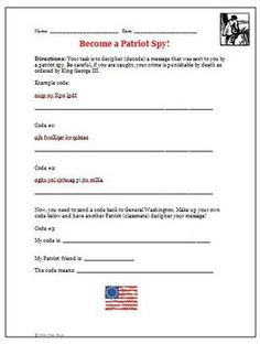 Printables Revolutionary War Worksheets loyalists and patriots ppt lesson war student revolutionary spy codes activity coded messages were an important way to send valuable information for the