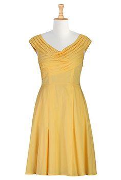 eShakti Pintuck pleat poplin dress