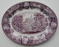 Vintage Purple English Transferware Serving Platter Grazing Sheep Thatched Cottage Peonies