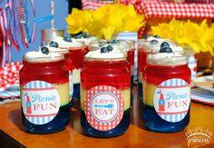 Jello jars at a July 4th Picnic #july4th #picnicfood