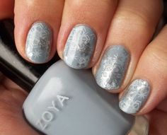 Zoya Kristen base with Konad White and Pure Ice Silver Mercedes used for stamping