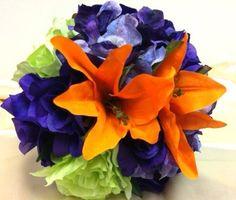 Wedding Bouquet Silk Flower Orange Purple Green Brown Fall Theme Bridal Favor   eBay