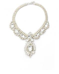 Collana gioiello strass bianca